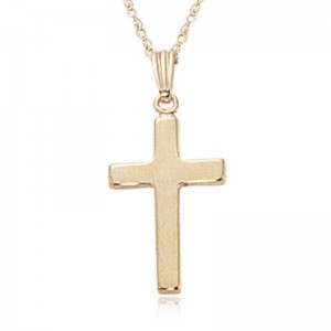 Pd Collection Yg Chain W/ Small Polished Cross Pendant Necklace 18