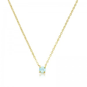 Pd Collection Yg 4Mm Aquamarine Necklace