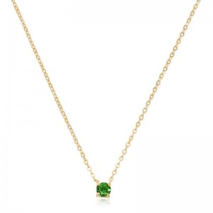 Pd Collection Yg 4Mm Emerald Necklace