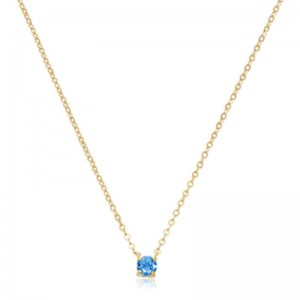 Pd Collection Yg 4Mm Swiss Blue Topaz Necklace
