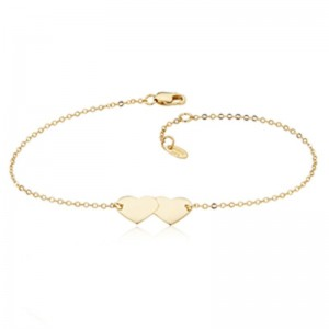 Pd Collection Yg Double Heart 7-7.5Adj Bracelet