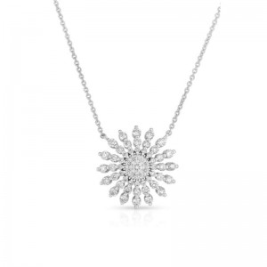 Roberto Coin  White Gold Diamond Sunburst Necklace