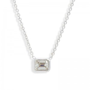 Roberto Coin  White Gold Emerald Cut Diamond Pendant