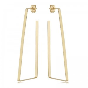 Pd Collection Yg Open Flat Triangle Earrings