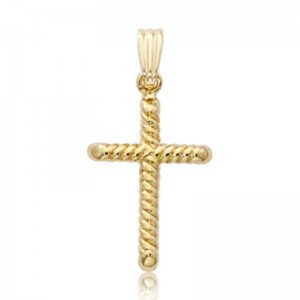 Pd Collection Yg .50Mm Box Chain W/ Small Swirl Cross Pendant