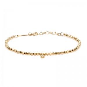 Zoe Chicco Small Gold Bead Bracelet With Dangling Diamond Bezel