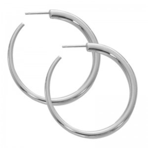 Pd Collection Ss Medium Round Hoop Earrings With Post