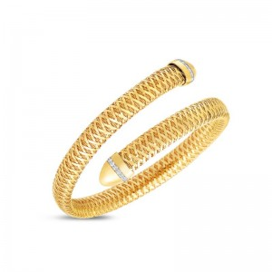 Roberto Coin Yellow and White Gold Diamond Primavera Flexible Bangle