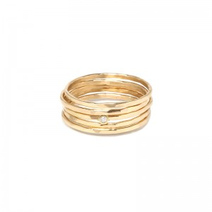 Zoe Chicco Set Of 5 Hammered Gold & Diamond Rings