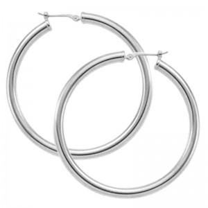 Pd Collection Ss 3X40Mm S/D Tube Hoop Earrings