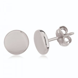 Ss 8Mm Flat Round Stud Earrings