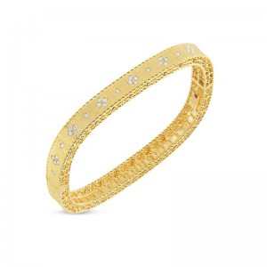 Roberto Coin Yellow Gold Princess Diamond Bangle With Diamonds
