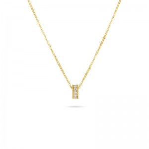 Roberto Coin Yellow Gold Symphony Collection Princess Diamond  Rondel Necklace