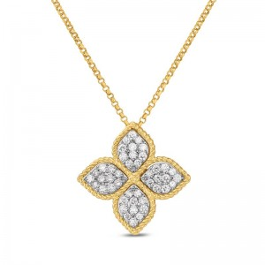 Roberto Coin Yellow Gold Large Pendant with Diamonds