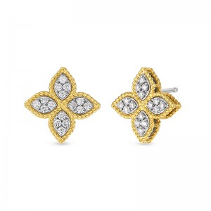 Roberto Coin  Yellow Gold Princess Flower Collection Medium Stud Earrings
