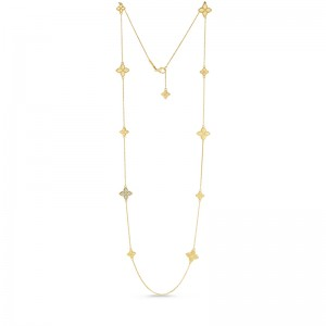 Roberto Coin  Yellow Gold Princess Flower Stations Necklace