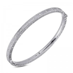 Roberto Coin  White Gold Princess Bangle Bracelet With Diamonds