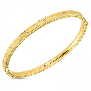 Roberto Coin  Yellow Gold Diamond Princess Bangle Bracelet