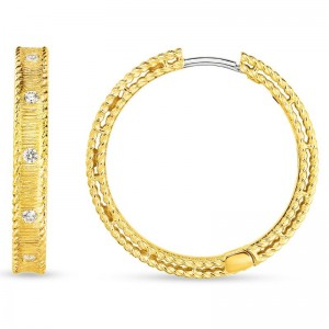 Roberto Coin  Yellow Gold Diamond Princess Hoop Earrings