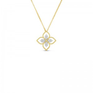 Roberto Coin  Yellow & White Gold Diamond Princess Flower Necklace