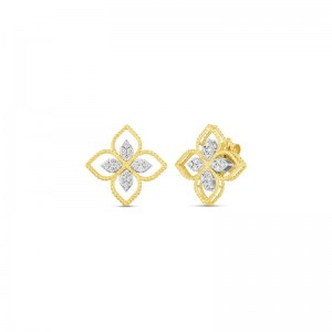 Roberto Coin  Yellow & White Gold Diamond Princess Flower Earrings