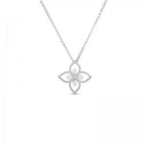 Roberto Coin  White Gold Diamond Princess Flower Necklace