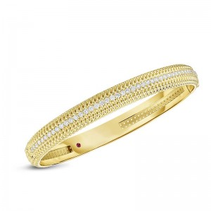 Roberto Coin  Yellow Gold Diamond Opera Bangle