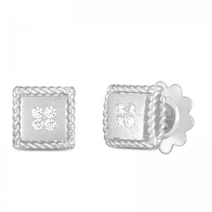 Roberto Coin  White Gold Diamond Palazzo Ducale Stud Earrings