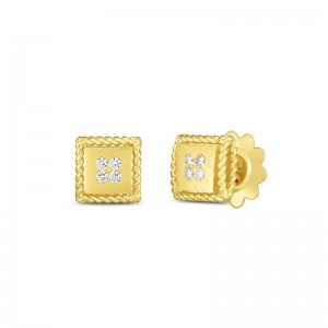 Roberto Coin  Yellow Gold Diamond Palazzo Ducale Stud Earrings