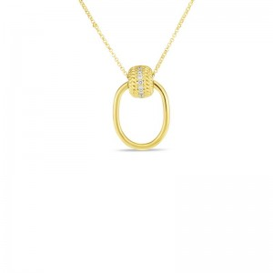Roberto Coin  Yellow Gold Diamond Opera Necklace
