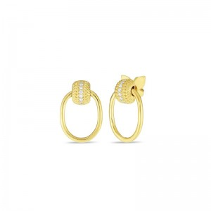 Roberto Coin  Yellow Gold Diamond Opera Earrings