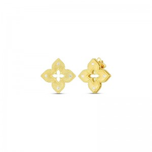 Roberto Coin  Yellow Gold Diamond Petite Venetian Princess Earrings