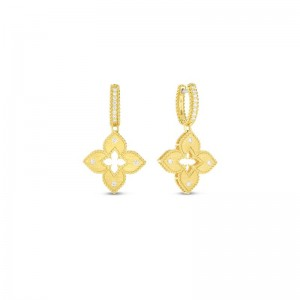 Roberto Coin  Yellow Gold Diamond Petite Venetian Princess Drop Earrings