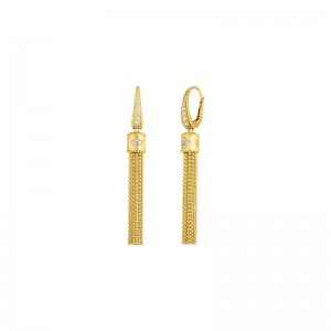 Roberto Coin  Yellow Gold Diamond Princess Tassel Earrings