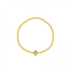 Roberto Coin  Yellow & White Diamond Princess Flower Bracelet Petite