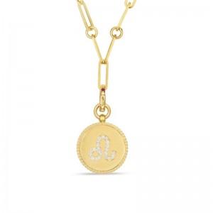 Roberto Coin 18K Diamond Leo Zodiac Medallion Pendant W. Coin Edge On Paper Clip Chain