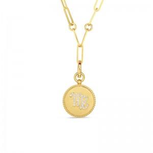 Roberto Coin 18K Diamond Virgo Zodiac Medallion Pendant W. Coin Edge On Paper Clip Chain