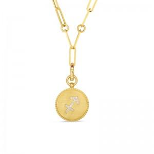 Roberto Coin 18K Diamond Sagittarius Zodiac Medallion Pendant W. Coin Edge On Paper Clip Chain