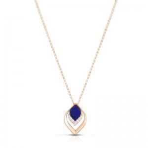 Roberto Coin 18K Gold Lapis and Diamond Petal Pendant Necklace