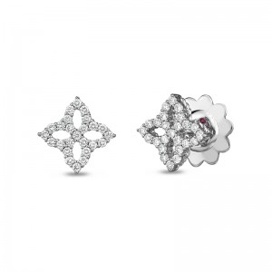 Roberto Coin  White Gold Princess Flower Collection Small Diamond Earrings