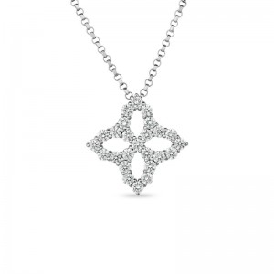 Roberto Coin White Gold Princess Flower Necklace with Diamonds - Medium Flower