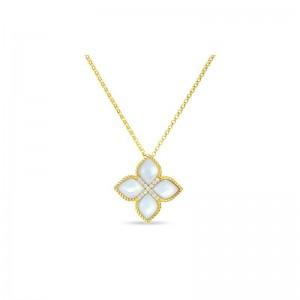 Roberto Coin  Yellow Gold Diamond & Mop Venetian Princess Pendant