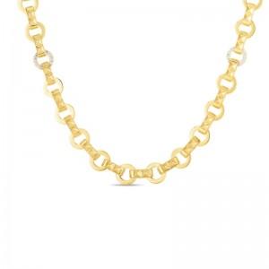 Roberto Coin 18K Petite Obelisco Chain W. Single Diamond Station Necklace