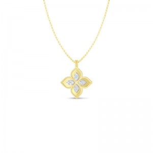 Roberto Coin Yellow and White Gold Princess Flower Necklace with Diamonds
