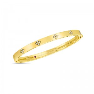 Roberto Coin  Yellow Gold Diamond Love In Verona Bangle