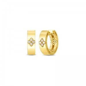 Roberto Coin  Yellow Gold Diamond Love In Verona Earrings