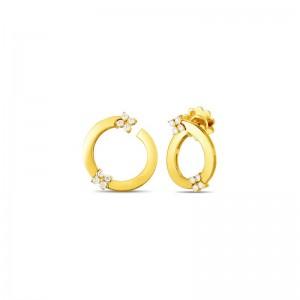 Roberto Coin 18K Love In Verona Double Diamond Flower Circle Hoop Earring