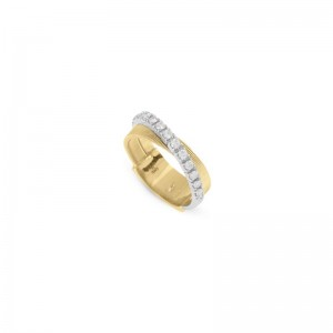 Marco Bicego 18K Yellow Gold Masai Collection Two Strand Ring With .39Ctw Diamonds Size 7