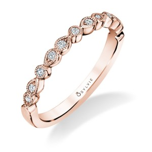 Sylvie .13Ctw 14K RG Diamond Stackable Band With Milgrain