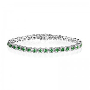 Classic Emerald and Diamond Tennis Bracelet
